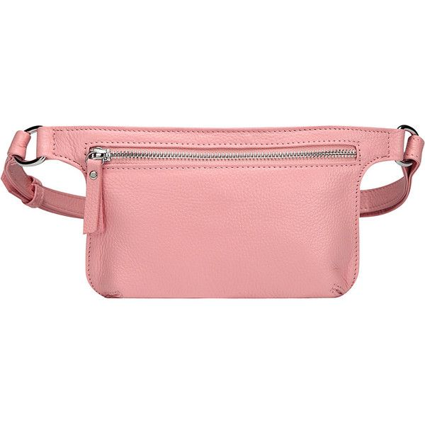 Vicenzo Mibel Distressed Leather Waist Pack/Crossbody - Pink -... (704.335 IDR) ❤ liked on Polyvore featuring bags, pink, belt bag, pink waist bag, fanny bag, cross body and waist fanny pack