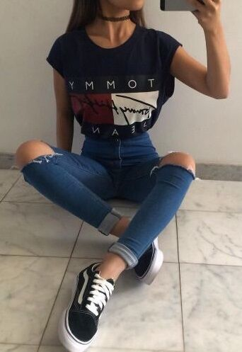 TH t-shirt + rips and converse