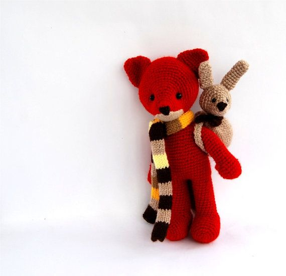 stuffed fox toy amigurumi red animal woodland by crochAndi on Etsy, $49.54