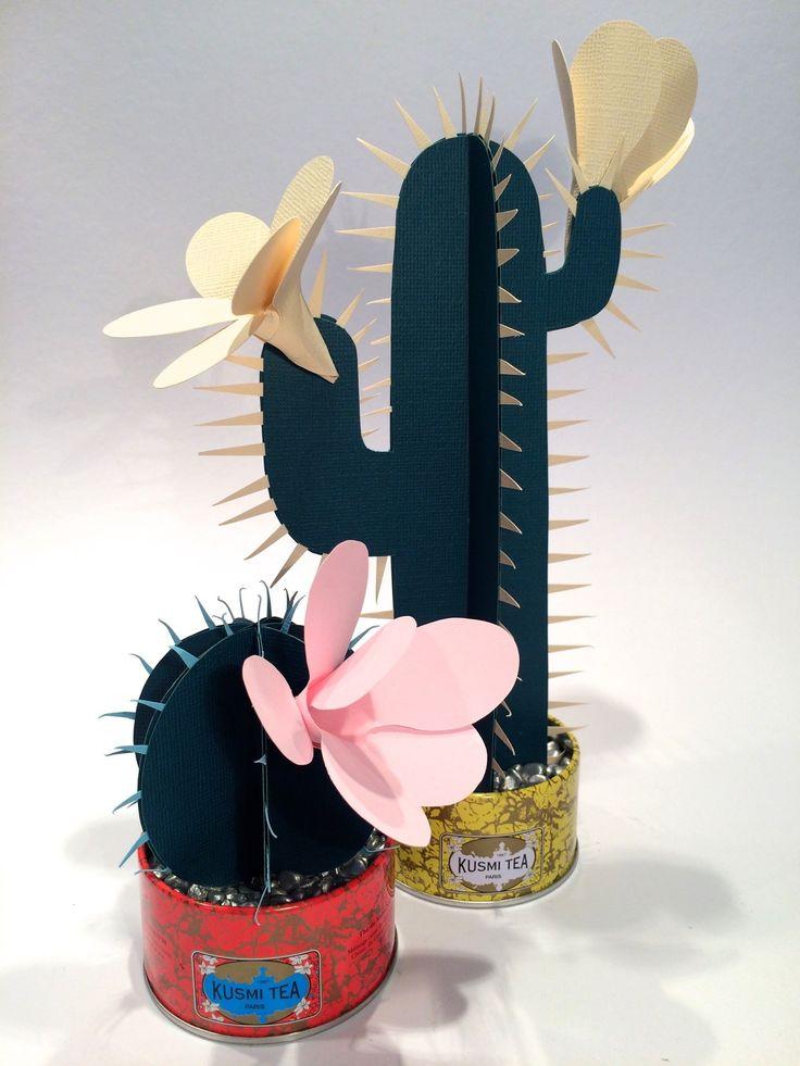 Kakteen aus papier basteln paper cactus - Schlitten basteln pappe ...
