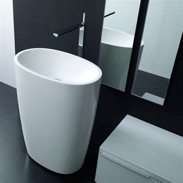 MO ON FLOOR - Smuk oval fritstående håndvask fremstillet i Monolith