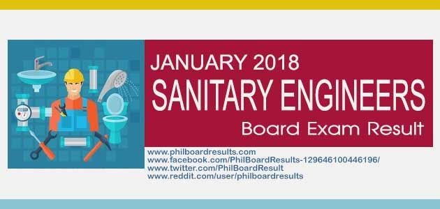 Shown here is the full list of passers for January 2018, Sanitary Engineer Board Exam result, officially released by PRC & Board of Sanitary Engineering