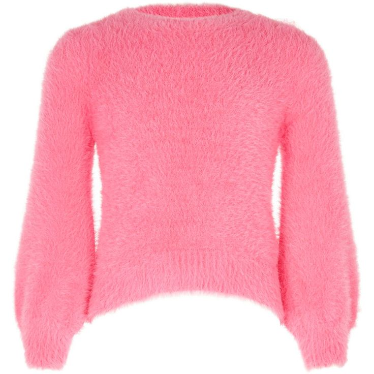 Knit fabric Long balloon sleeve Ribbed trims Round neck