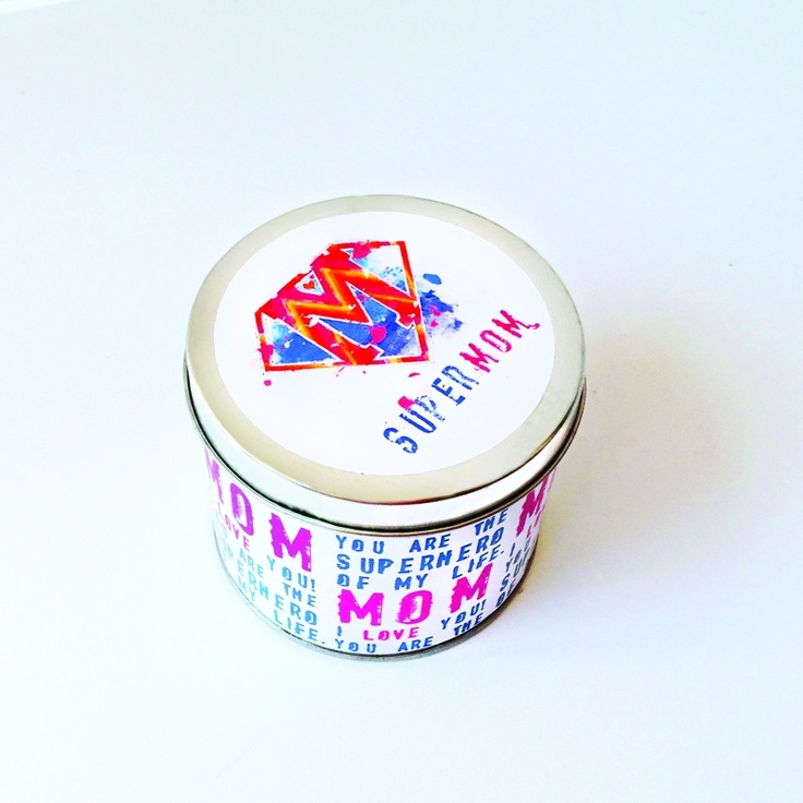 supermom candle  The perfect gift for mother's day or even your mother's birthday!    handmade scented candle    with original artwork by Caroline Rovithi (www.caroline.gr)    8,00 €
