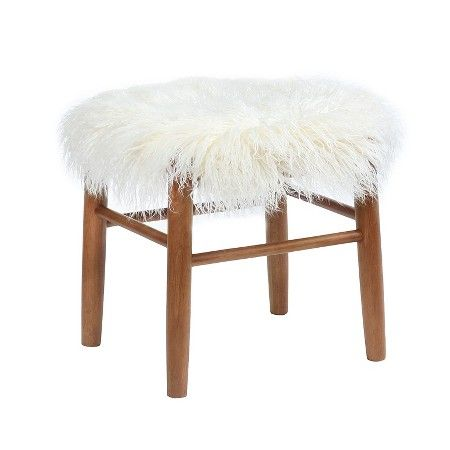 Faux Fur Accent Stool - White - Threshold™ : Target