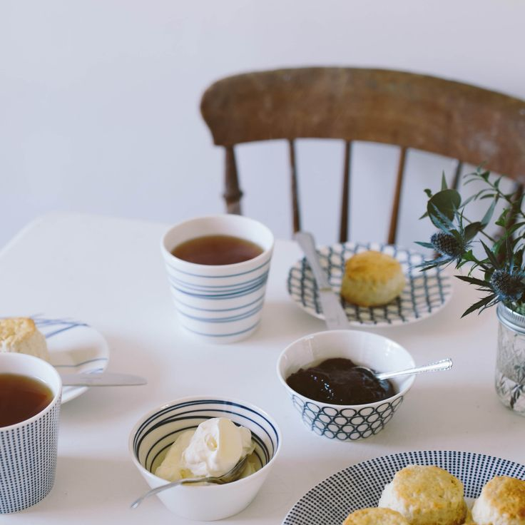 Tea time! Scones with jam and cream, served on Royal Doulton Pacific collection