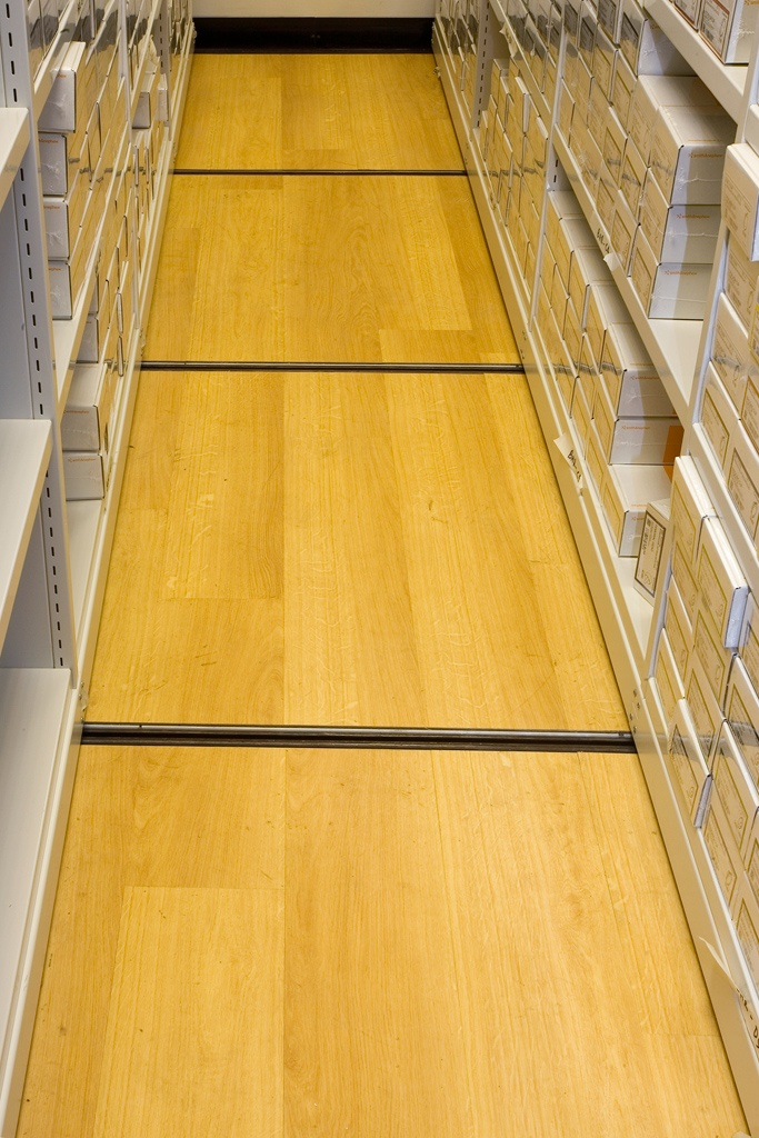 Interlocking non-slip floor panels locate and secure the tracks in position ensuring Flexistor mobile storage racks are free to move with ease yet remain secure. http://www.compactstorage.co.uk/mobile-shelving/flexstor/