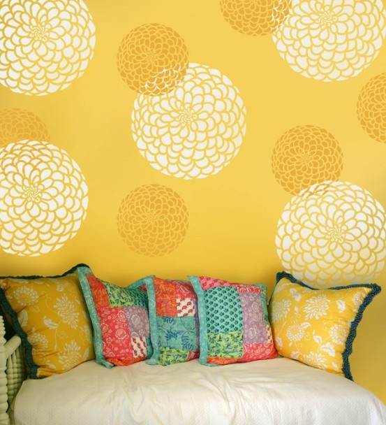 10 Interior Design Tips To Add Natural Light In Your HomeZinnias, Yellow Wall, Wall Decals, Cutting Edge Stencils, Wall Stencils, Cut Edging Stencils, Flower Stencils, Room, Accent Wall