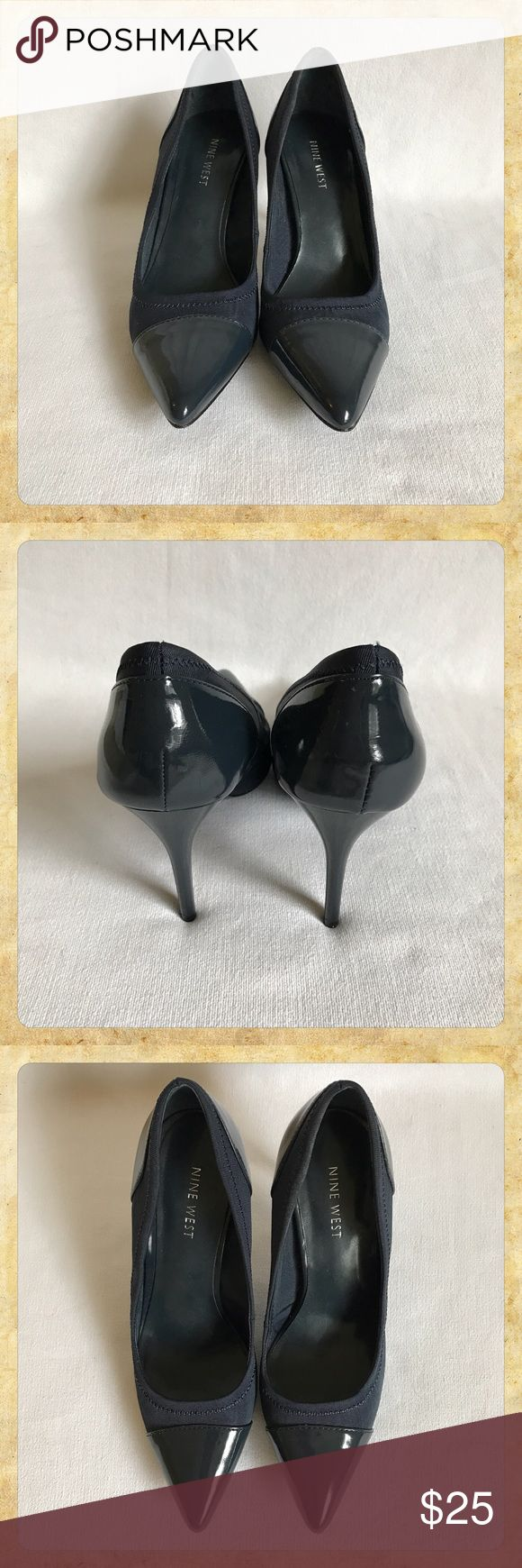Nine West Navy High Heel Shoe, Sz 7.5 Ribbed textile with patent tips on the toes and accents on the backs and heels. There are stick-ons on the bottom of the shoe to prevent slipping. 4-inch heel.  These shoes show hardly any wear; please see pictures. Thanks!  Please feel free to ask any questions or use the offer button to make an offer. Everything is negotiable! Nine West Shoes