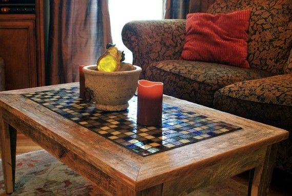 Coffee Table Tile Mosaic Reclaimed Wood Rustic