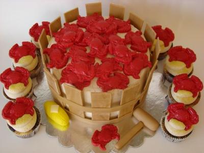 Bushel of Crabs cake and cupcakes  www.simplycakesbyalison.com