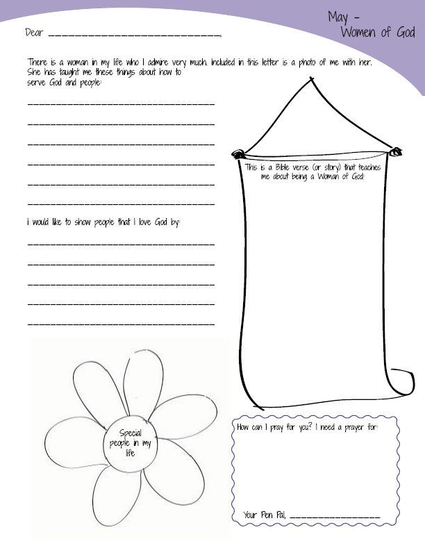 Download these pages of the AHG Pen Pal Program Packet for