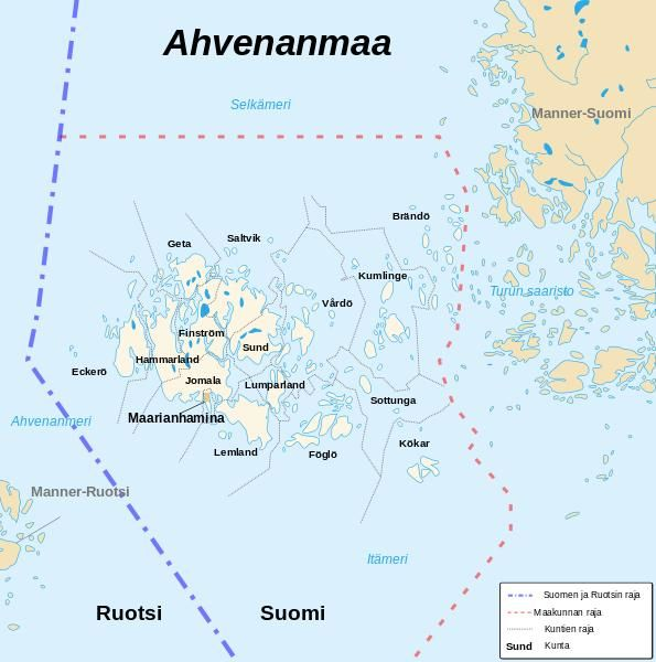 Åland map - The blue dashed line is a border between Sweden (Ruotsi) and Finland (Suomi).