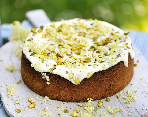 Pistachio, yoghurt & elderflower cake by Jamie Oliver. Photo by Sam Stowell. This sings summer to me.