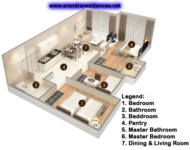3 Bedrooms – Arandra Residence