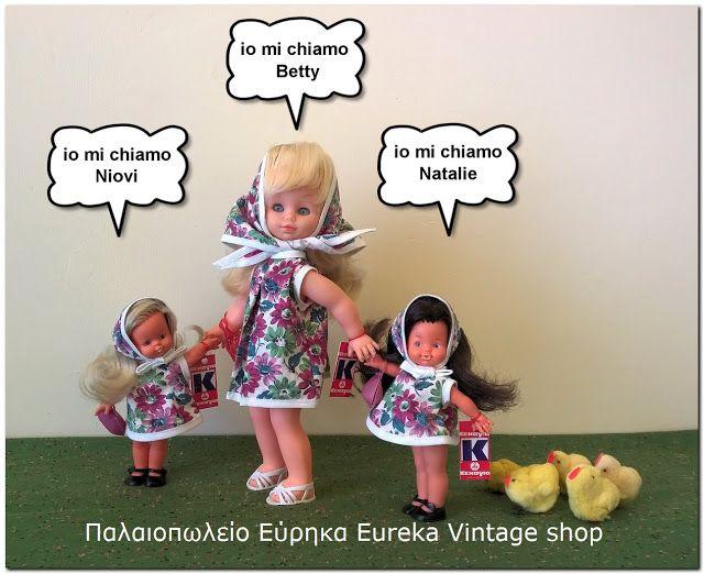 3 molto belle bambole del decennio del 1960 la società greca Ioannis Kechagia, con i nomi di Niovi, Betty e Natalie.