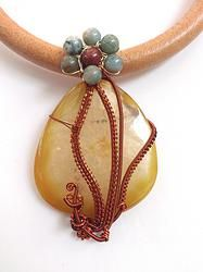 Natural Agate Wire Weave Leather Choker