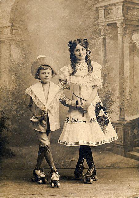 Elegant position, 1890 and wearing roller skates!