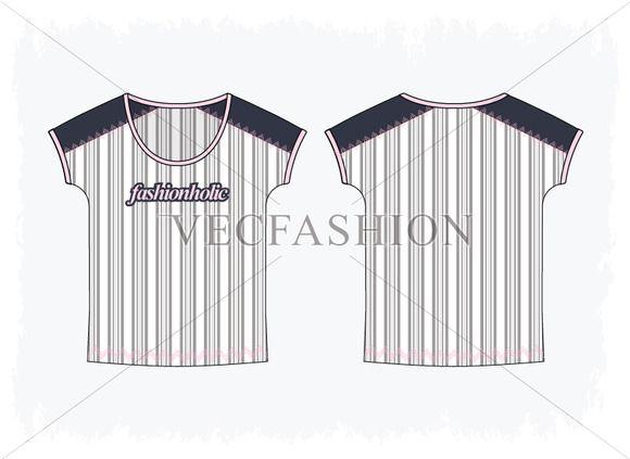 Woman Kimono Sleeve Striped T shirt by VecFashion on Creative Market
