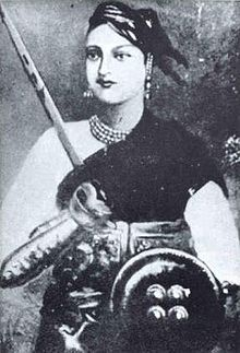 Lakshmibai, the Rani of Jhansi (19 November 1828 – 18 June 1858)  (Marathi- झाशीची राणी लक्ष्मीबाई) was the queen of the Maratha-ruled princely state of Jhansi, situated in the north-central part of India. She was one of the leading figures of the Indian Rebellion of 1857 and for Indian nationalists a symbol of resistance to the rule of the British East India Company in the subcontinent.