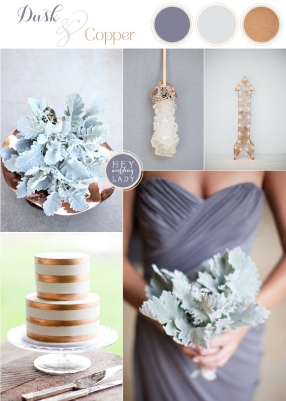 Dusk and Copper - Modern Metallic Wedding Inspiration with Slate and Dusty Miller   See More: http://heyweddinglady.com/dusk-and-copper-modern-metallic-wedding-inspiration/