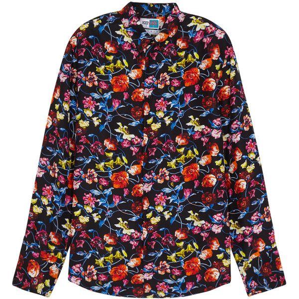 KENZO Memento Floral-print Silk Shirt - Size L (1 085 PLN) ❤ liked on Polyvore featuring men's fashion, men's clothing, men's shirts, men's casual shirts, men's flower print shirt, mens silk shirts, mens curved hem t shirt and colorful mens dress shirts