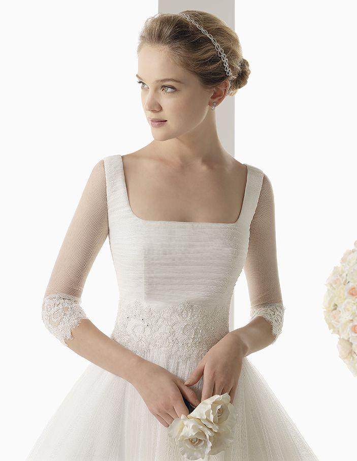 Rosa Clara Bridal: Square-Necked Wedding Dress & 3/4 Length Sleeves