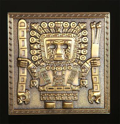 Antique Gold Tiahuanaco Gateway of the Sun Geocoin