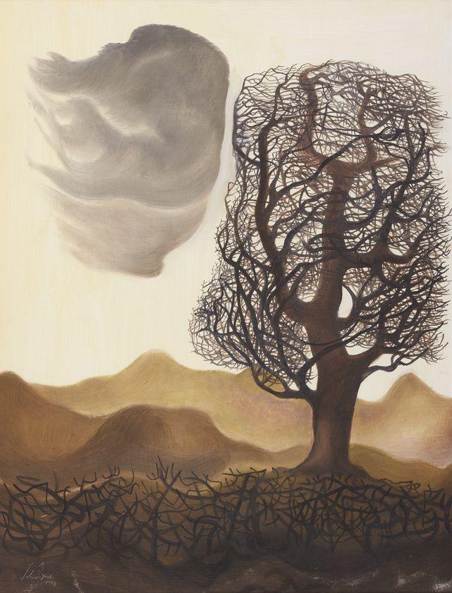 'Tree, Cloud, Hedge' by John Byrne (oil on board)