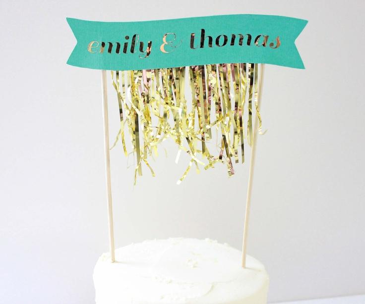Gold Fringe Cake Banner.