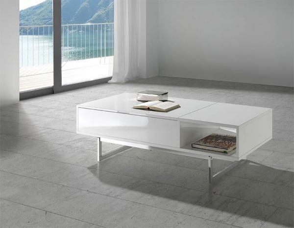 biely konferenčný stolík s chrómovými nohami