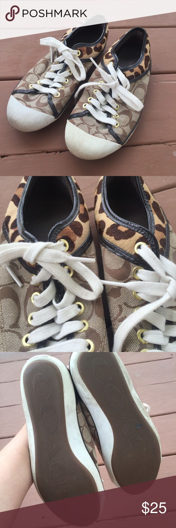 Leopard Coach Tennis Shoes Great condition! Traditional coach print with leopard accents! Coach Shoes Sneakers