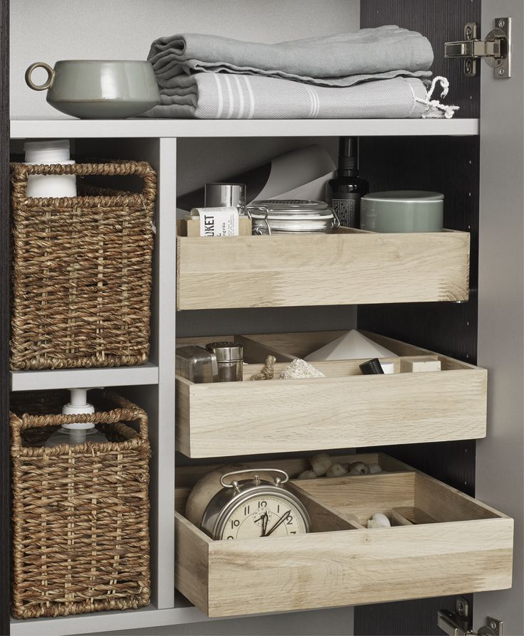 New 50 cm tall unit with beautiful internals. The tall units have wickerwork baskets and wooden trays  that can be used as drawers.