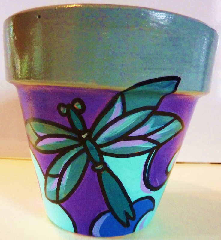 Original Hand Painted Terra Cotta Flower Pot- etsy