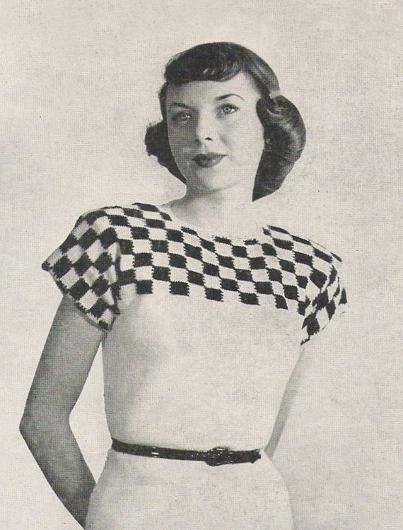 Vintage knitting pattern checkered, 1940's.