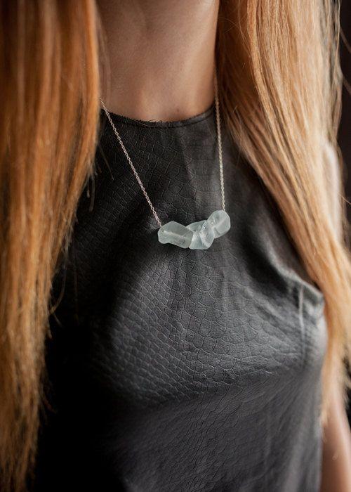 Aquamarine Aquamarine Necklace Crystal Pendant by Korizzashop