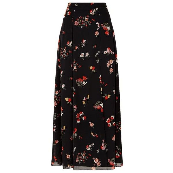 Red Valentino Floral Pleated Skirt (2.885 BRL) ❤ liked on Polyvore featuring skirts, bottoms, maxi skirts, pleated skirt, slit skirt, long maxi skirts and floral maxi skirt
