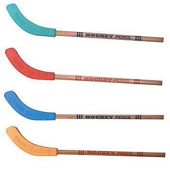The Hockey Stick Pencil looks like a real hockey stickers with wooden handles and matching erasers tops in green, red, blue and yellow. Each Hockey Stick Pencil is 9 inches long.