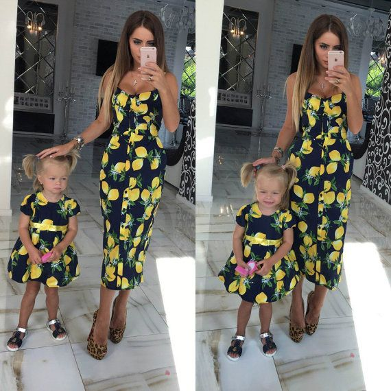 Lemon black - matching mother and me dresses, family outfits, mother and daughter dresses, child dress, girl dress, family look