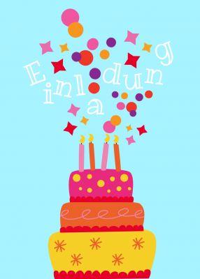 Lustige Einladungskarte mit großer Geburtstagstorte und buntem Konfetti. Nur eigene Texte einsetzen! #EinladungGeburtstag.de