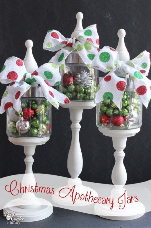 Idea using apothecary jars filled with Christmas items as part of your Christmas decorations from #RealCoake #ApothecaryJars #ChristmasDecor...