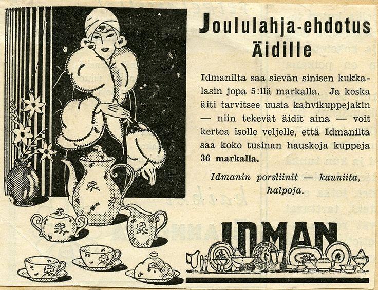 #joulumainokset #vanhatmainokset #joululahjat #äidit #finnishdesign #Idman #astiat