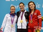 Silver medallist Elodie Lorandi of France, gold medallist Sophie Pascoe of New Zealand and bronze medallist Summer Ashley Mortimer of Canada pose on the podium