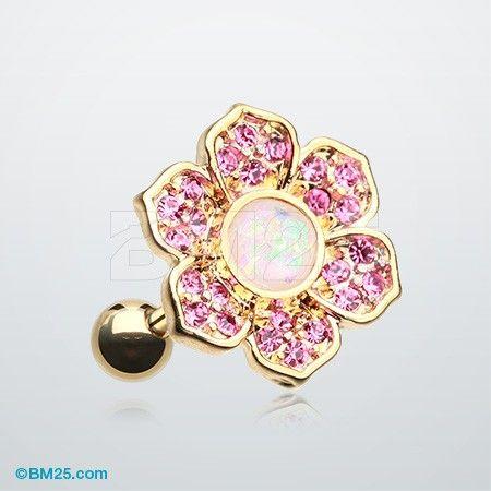 Golden Opal Avens Flower Cartilage Tragus Earring