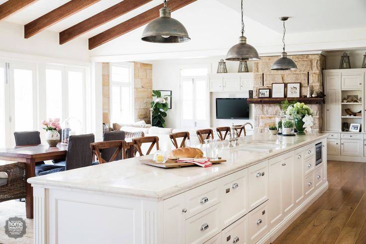 I adore this gorgeous kitchen! Love the Australian local sandstone fireplace. As seen in Home Beautiful Australia magazine.