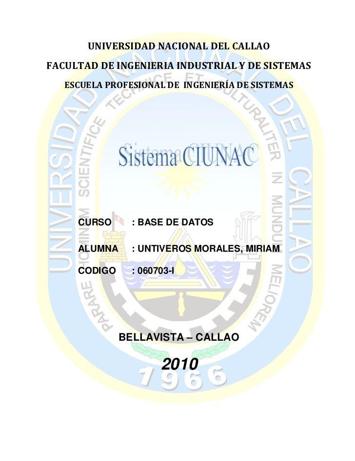 UNIVERSIDAD NACIONAL DEL CALLAOFACULTAD DE INGENIERIA INDUSTRIAL Y DE SISTEMAS   ESCUELA PROFESIONAL DE INGENIERÍA DE SIST...