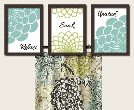 Teal green brown bathroom dahlia flower artwork set of 3 for Green and brown bathroom set