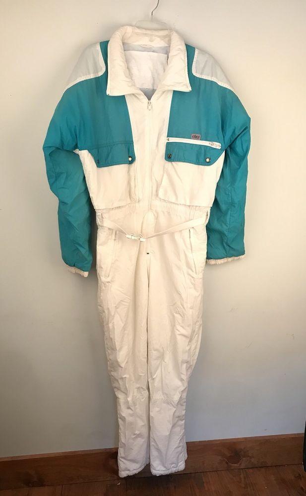 Etirel Women S Ski Snow Suit Vtg 80s 90s Aqua Teal Green White