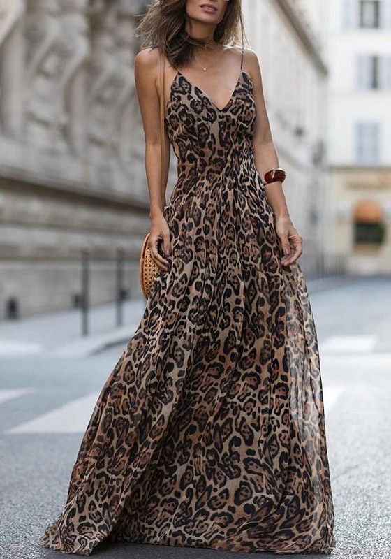 770d37a0da Brown Leopard Print Spaghetti Strap Deep V-neck Flowy Bohemian Beach Party Maxi  Dress - Maxi Dresses - Dresses