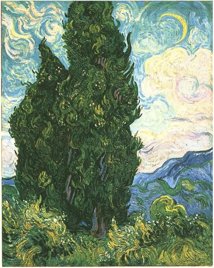 Cypresses ~  Painting, Oil on Canvas  Saint-Rémy, France: June, 1889  The Metropolitan Museum of Art  New York, New York, United States of America, North America  F: 613, JH: 1746